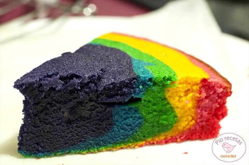 bizcocho arco iris detalle