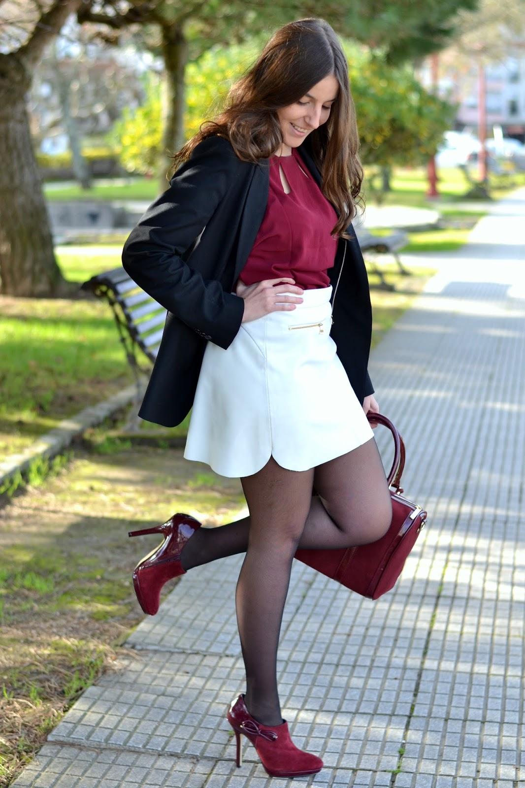 falda polipiel blanca zara
