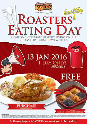 JANGAN LUPA  !! ESOK !! 13 Januari 2016 RED - ROASTERS Eating Day Kenny Rogers ROASTERS KEMBALI LAGI PERCUMA SEDOZEN MUFFIN  | Bookmark this date: 13 January 2016, RED by Kenny Rogers ROASTERS is back!