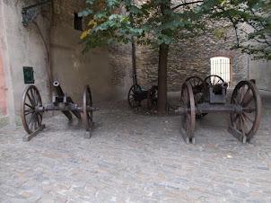 "Artillery next to ""Golden Lane"" housing complex inside Prague castle complex."