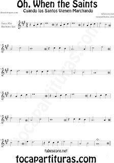 Partitura de Oh When the Saints para Saxofón Alto y Sax Barítono La Marcha de los Santos Sheet Music for Alto and Baritone Saxophone Music Scores Cuando los Santos Vienen Marchando
