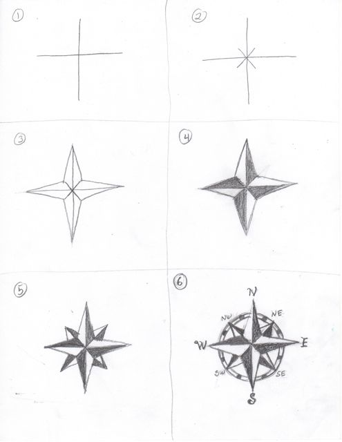 Compass Rose Drawing How to Draw a Compass Rose