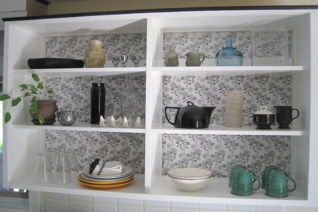 Vintage DIY Adding Drawer Liner To The Back Of Open Cabinets