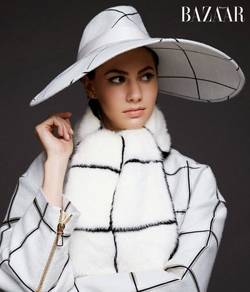 Tod's 2014 AW White Turtleneck Plaid Pullover and Floppy Hat