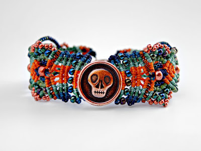 Micro macrame bracelet by Sherri Stokey with Skully focal.