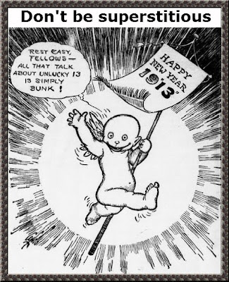 1913 cartoon - don't be superstitious