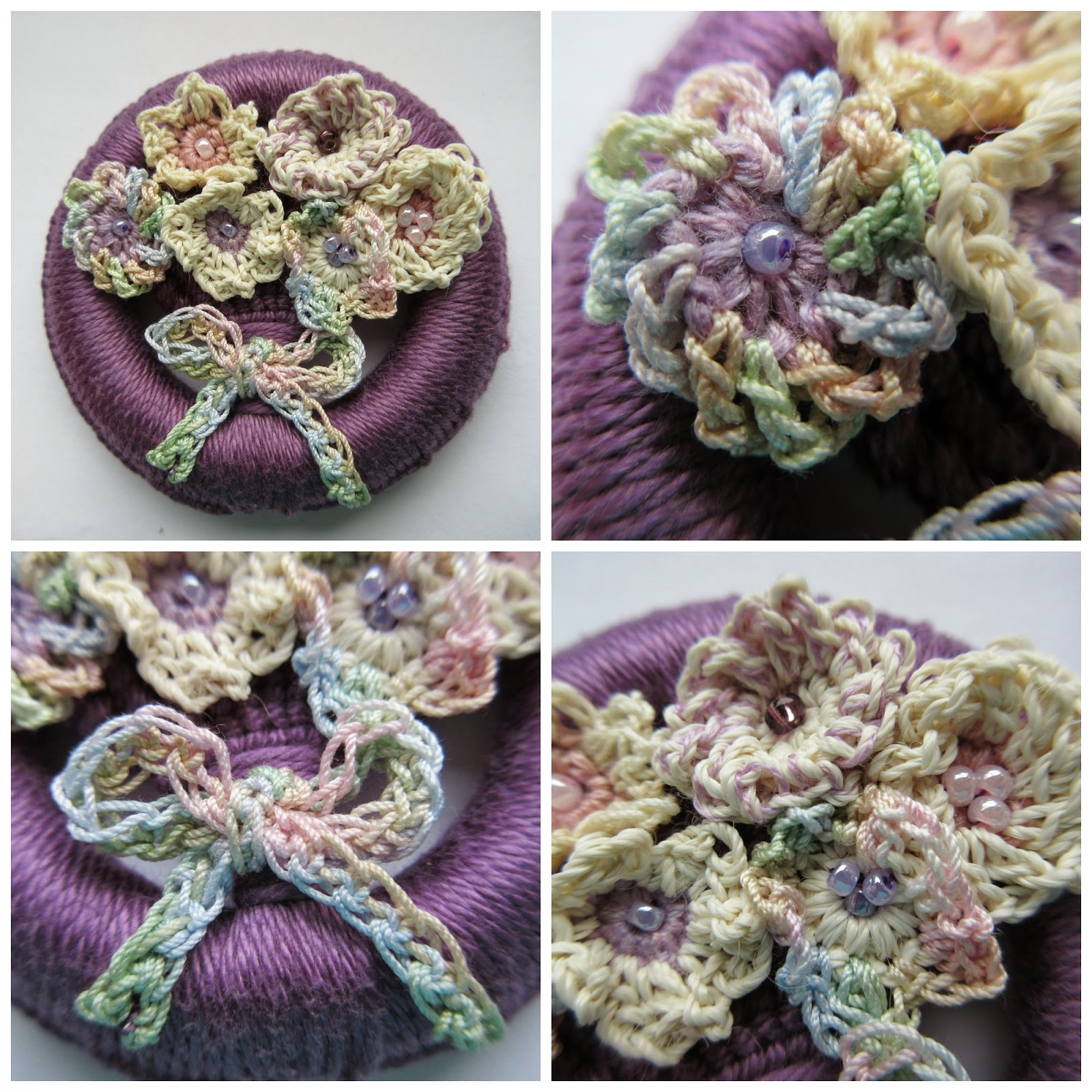 Dorset button with crochet flowers