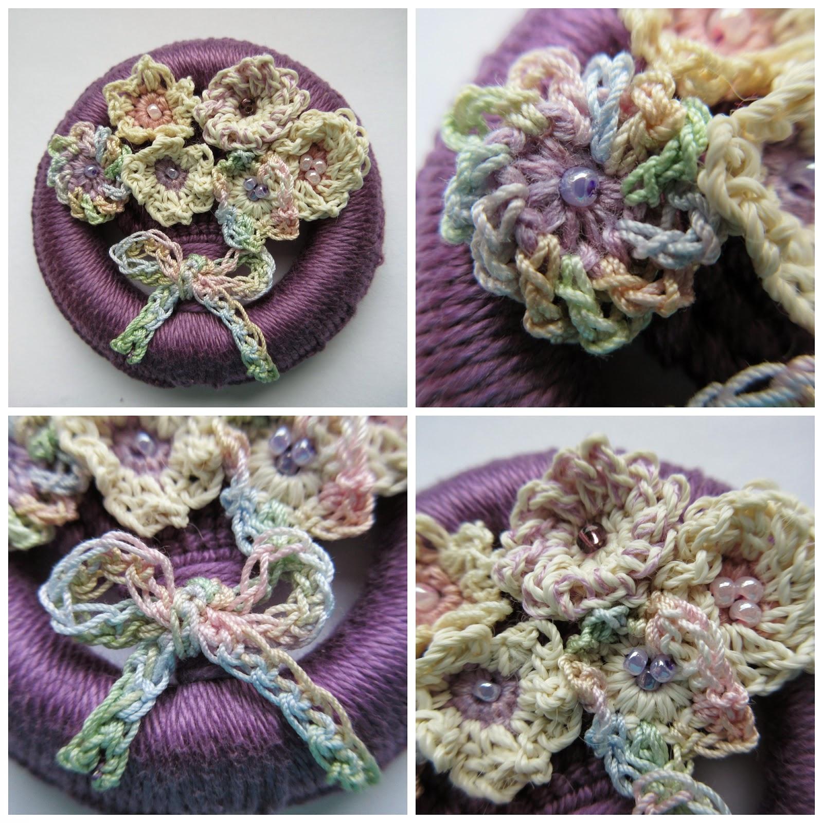 Dorset button with crochet flowers