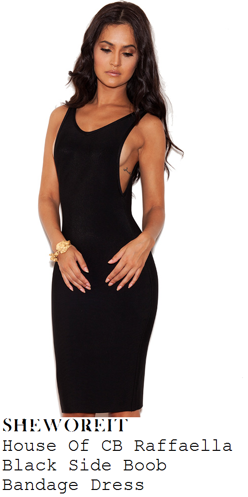 vicky-pattison-black-sleeveless-sideboob-bodycon-vest-dress