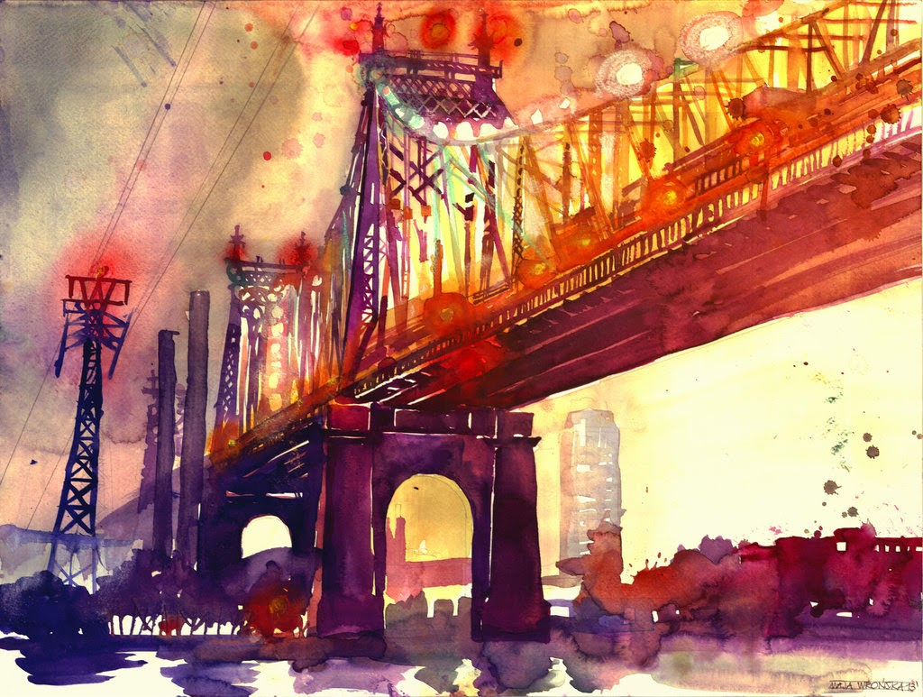 18-Queensboro-Bridge-Maja-Wronska-Travels-Architecture-Paintings-www-designstack-co