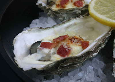 Roasted Oysters with Bacon and Parmesan