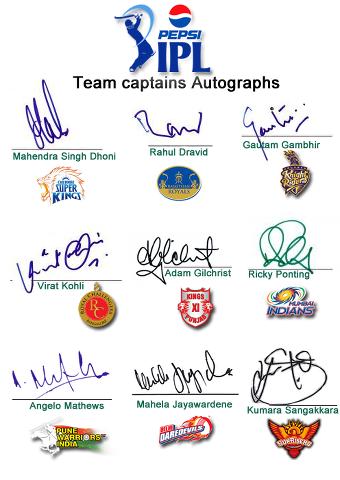 IPL Team Captains Autographs Wallpapers