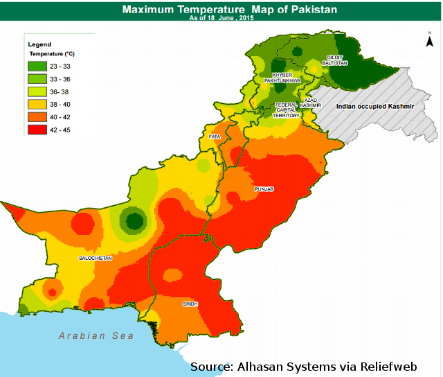 climate of pakistan In much of pakistan the climate is tropical or subtropical, semi-arid or desert, but in the north there are also: an area near the mountains which is quite rainy, a cold mountainous area, and a frigid area on the peaks of the himalayas.