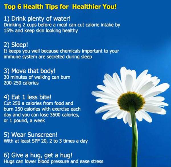 Top 6 Health tips for Healthier Life