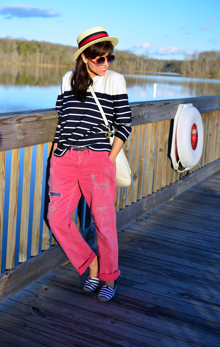 Outfit with a boater hat