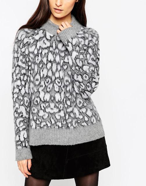 grey leopard print jumper, grey knit leopard jumper, grey brushed jumper,
