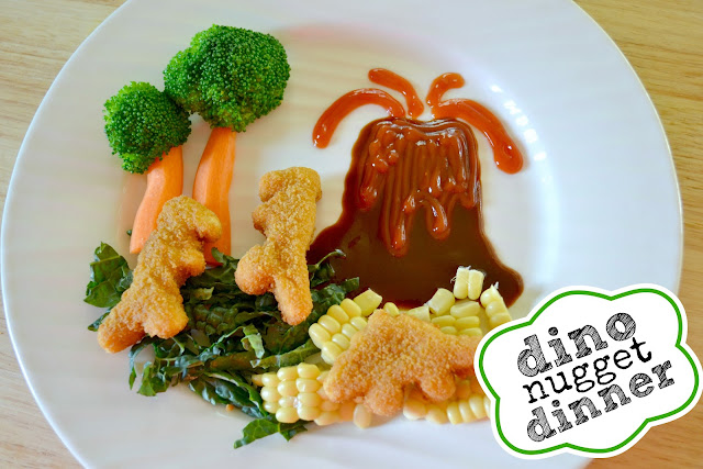 Mommy Testers kid friendly meal with Tysons chicken nugget food art dinosaur dinner #SpringtimeNuggets