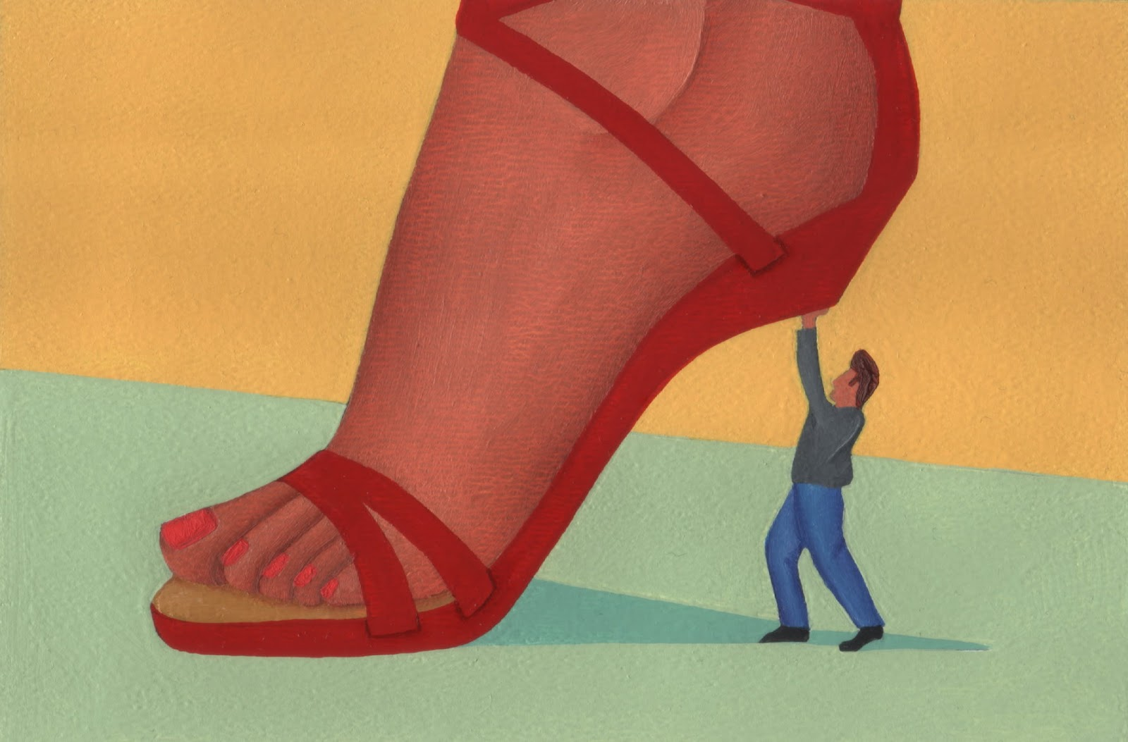 A small man holding up a woman's heel.