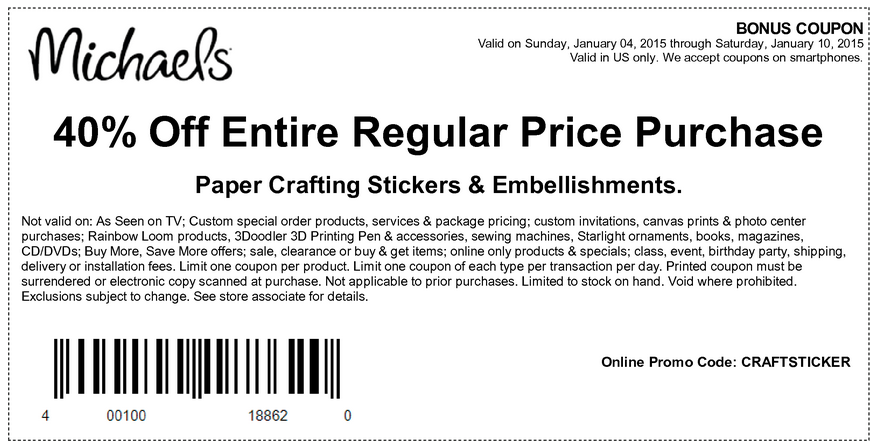 Michaels coupons march 2015 for Michael craft coupon printable
