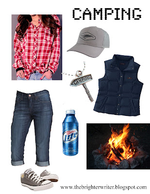 camping outfit 3: flannel, jeans, down vest, chucks, trucker hat www.thebrighterwriter.blogspot.com