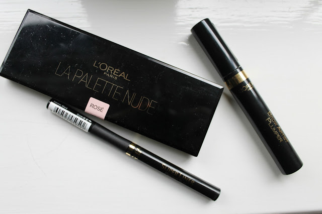 L'Oreal Paris Color Riche La Palette Nude in Rose Palette, L'Oreal Paris Super Liner Perfect Slim Eyeliner in Intense Black and L'Oreal Brow Artist Plumper Makeup Haul Boots Offer Review Swatches Look Beauty Blogger