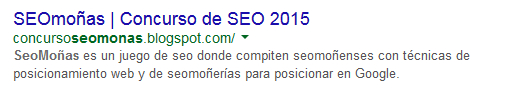 El blog de seomonas aparece en las SERP de Google