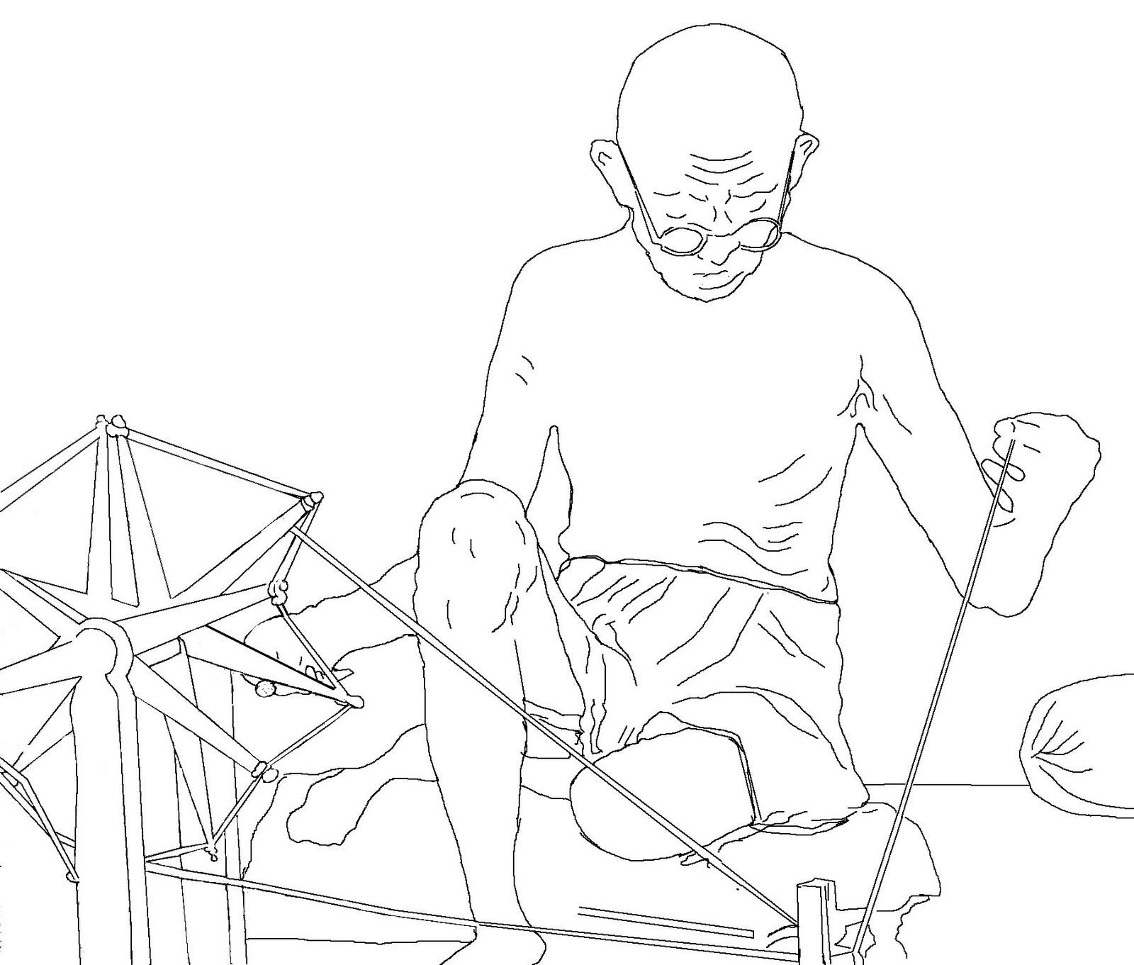 Drawing of gandhi at spinning wheel