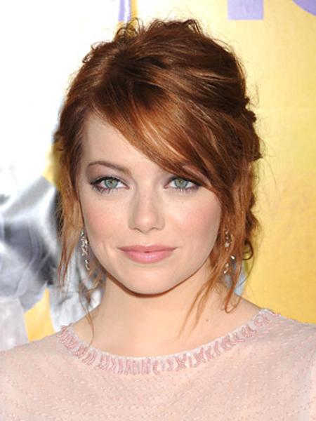 Emma Stone Round Face Shape Hairstyles