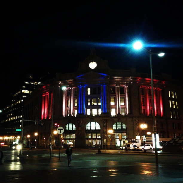 Boston South Station Lit up Red White Blue Lights