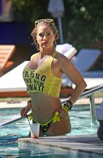 Jennifer Nicole Lee Yellow Bikini Batman swimwear Miami