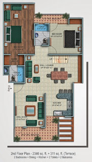 Oxford Square :: Floor Plans,Super Area 180 Sq. Yd. :-Second Floor 2 Bedroom + Dining + Kitchen + 2 Toilets + 2 Balconies Super Area: 2346 Sq. Ft. + 311 Sq. Ft. (Terrace)