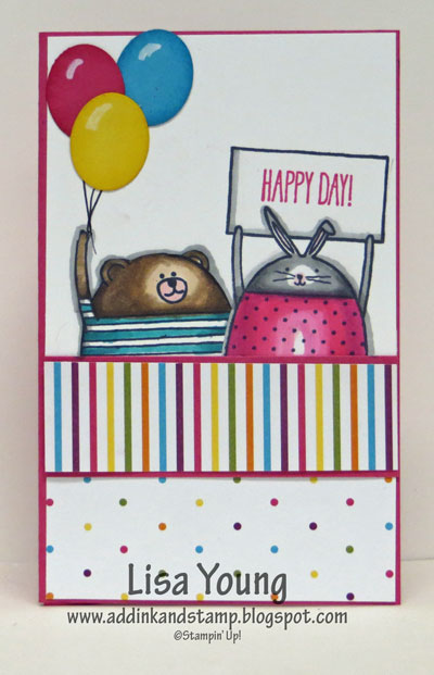 Stampin' Up! Cheerful Critters Pop Up Diorama Card. Birthday card. Opens up to reveal a surprise. Tutorial link on Add Ink and Stamp