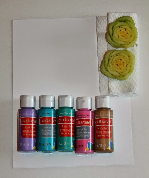 supplies for celery stamp rose paintings