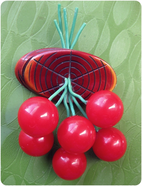 how to fix a bakelite cherry brooch