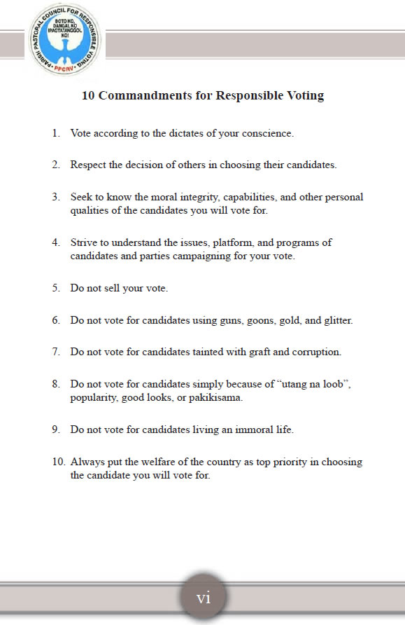10 Commandments for Responsible Voting