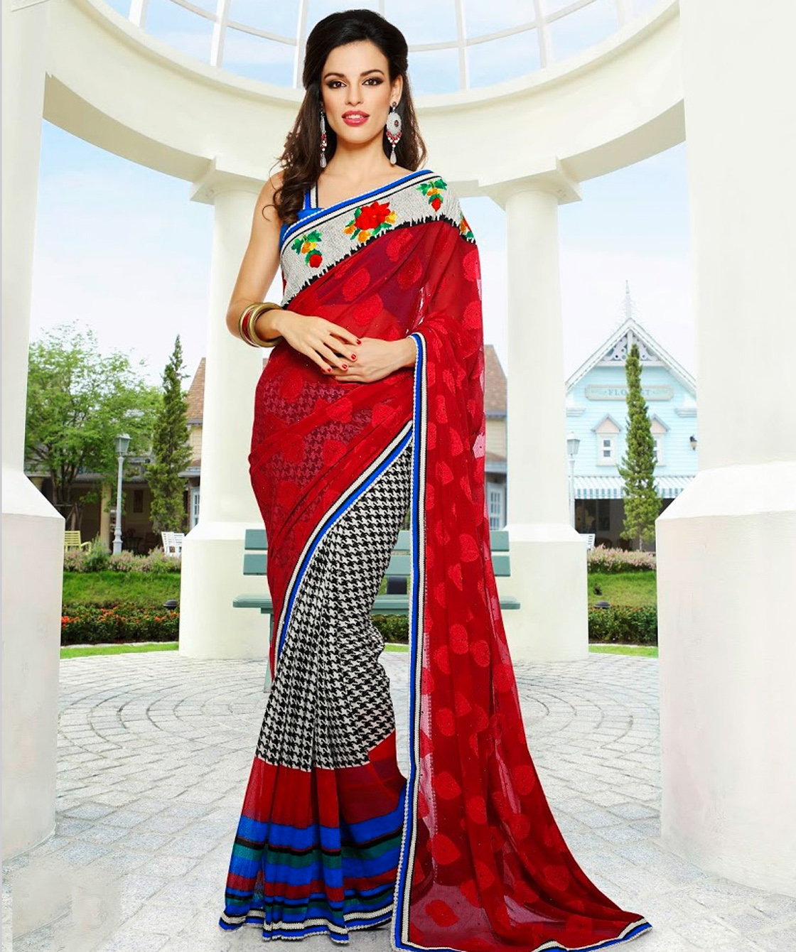 Incredibal Indian Wears Panash Red White And Black Georgette Saree