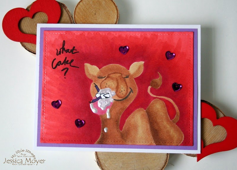 Camel Birthday Card by Jess Moyer featuring No Line Copic coloring and What Cake? from My Style Stamps jesscrafts.com