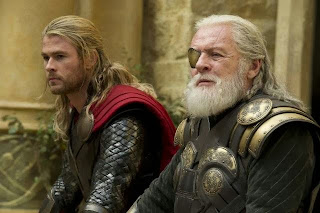 Anthony Hopkins and Chris Hemsworth in 'Thor The Dark World'