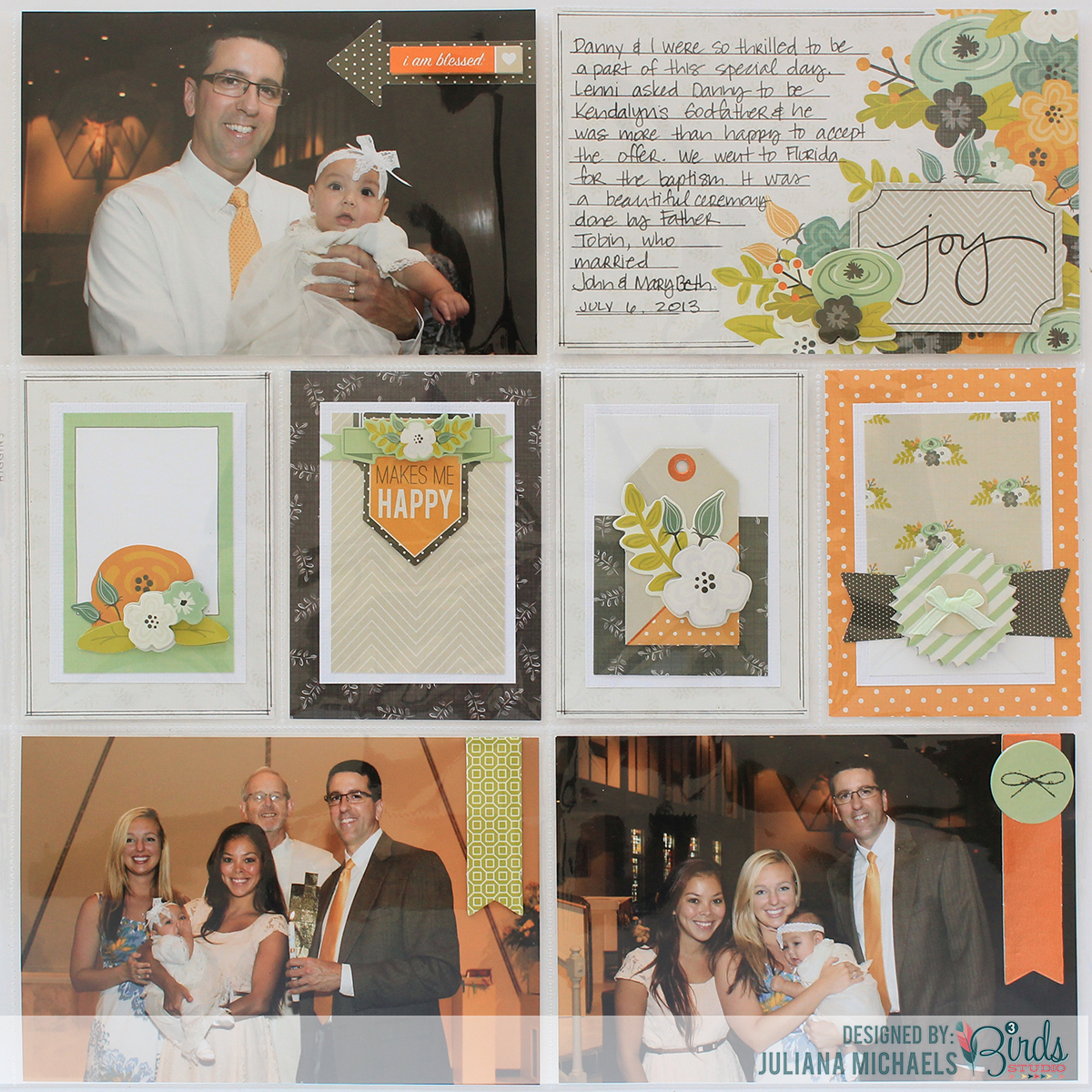 Joy Pocket Page Scrapbook Page by Juliana Michaels using 3 Birds Studio Graceful Season Collection