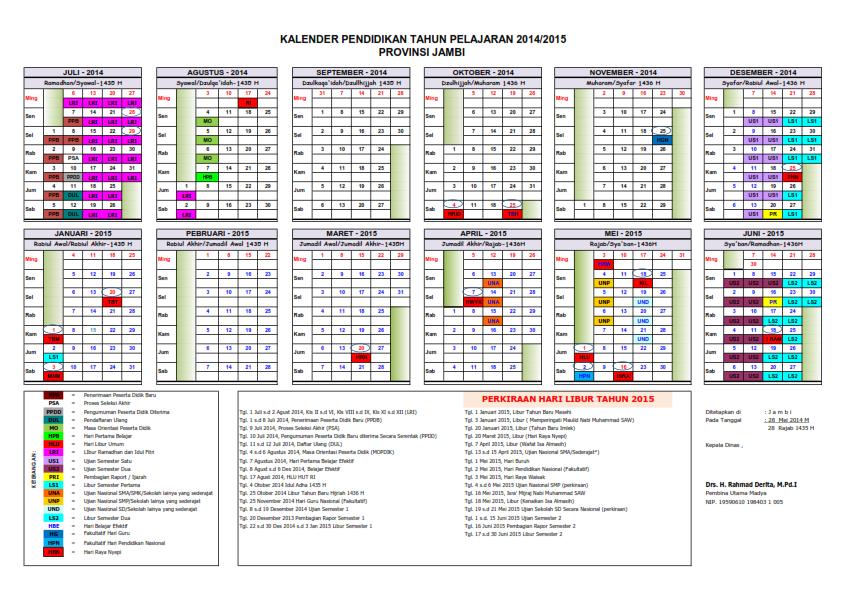 Kelender Pendidikan Provinsi Jambi Tahun Ajaran 2014/2015