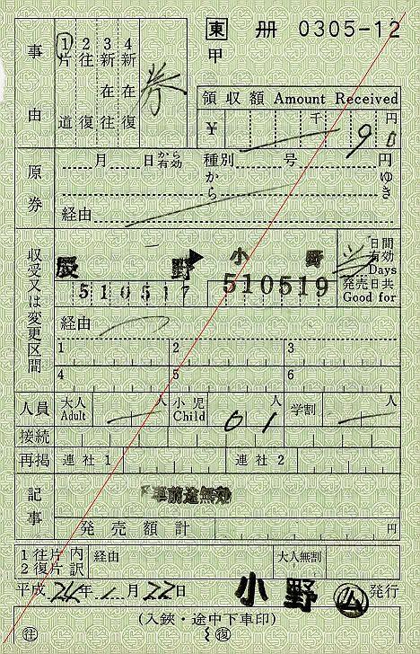 JR東日本 出札補充券3 小野駅