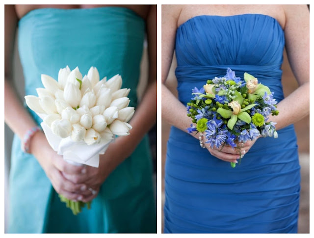 Bouquets for Blue Bridesmaid Dress