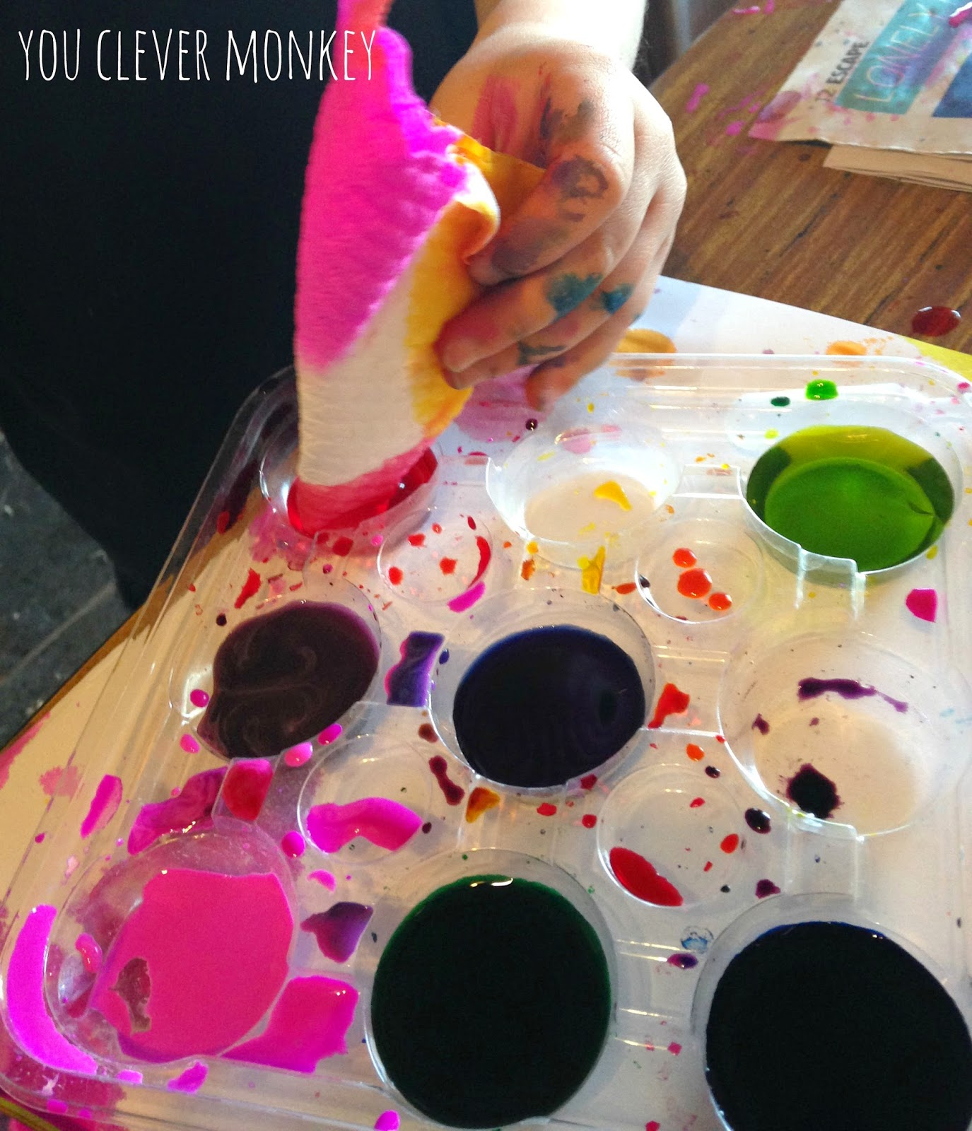 Dip Dying Art - a perfect multi-age art activity for children from materials easily found at home!