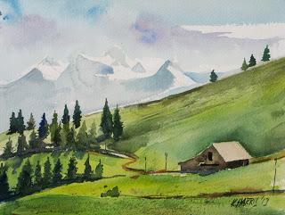 Studiamando liberamente acquerelli paesaggi estivi di for Paesaggi semplici da disegnare