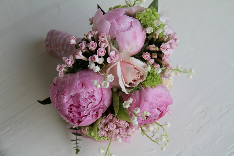 Pink Peony & Lily Of The Valley Spring Wedding Bouquet