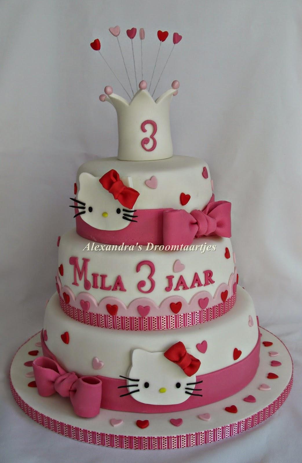 Zeer Verjaardags taart / Hello kitty taart / cake | Alexandra's  #XY-65