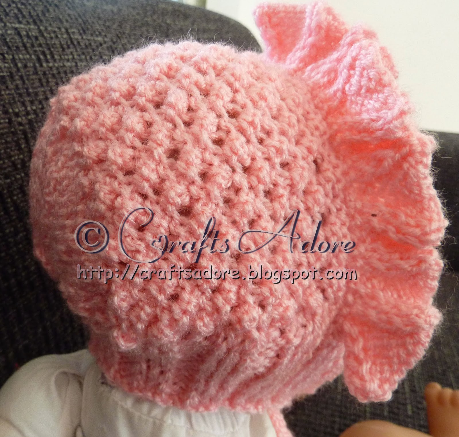Knitted Baby Hat - Frilled Baby Girl Bonnet