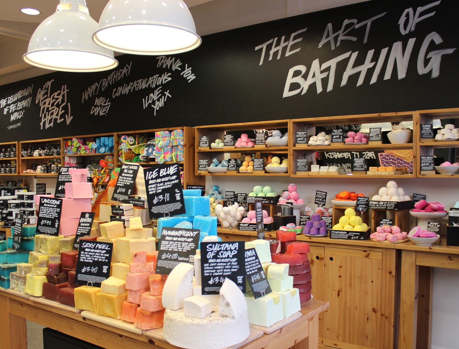 The colourful selection of LUSH products