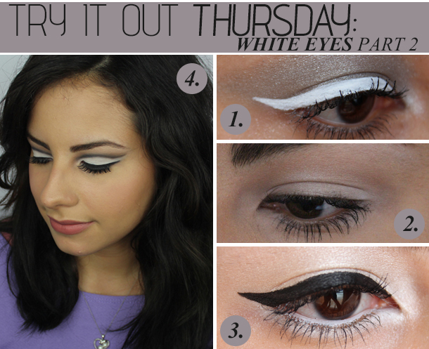 white eyeshadow liner makeup looks tutorial
