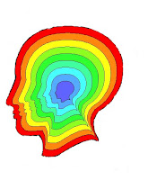 outline of head in profile with concentric rainbow colors